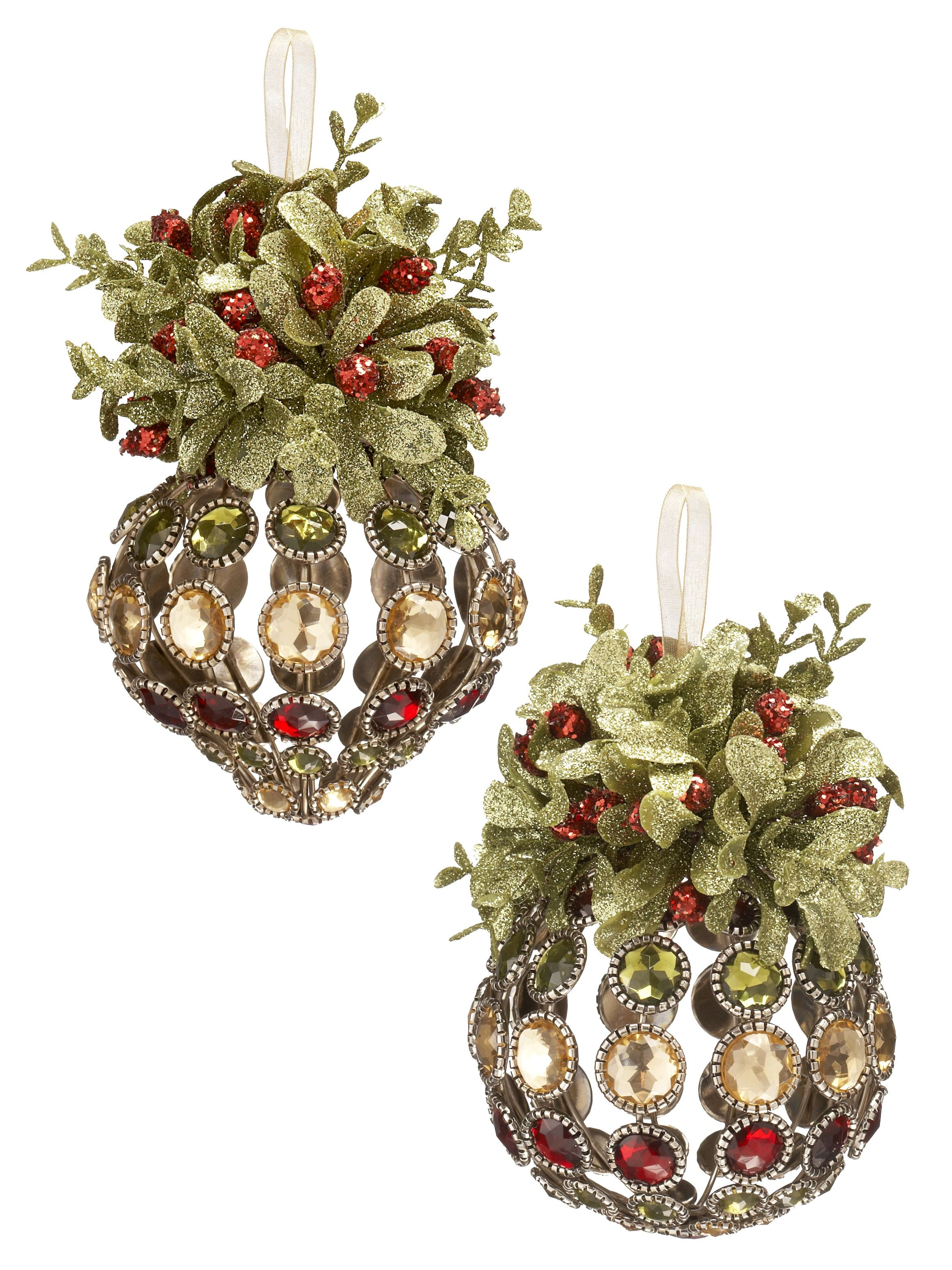 Vintage Looking Jewelled Ornament With Classic Mistletoe Topper Is Perfect For Gifting Wholesale Home Decor Wholesale Gifts Garden Decor