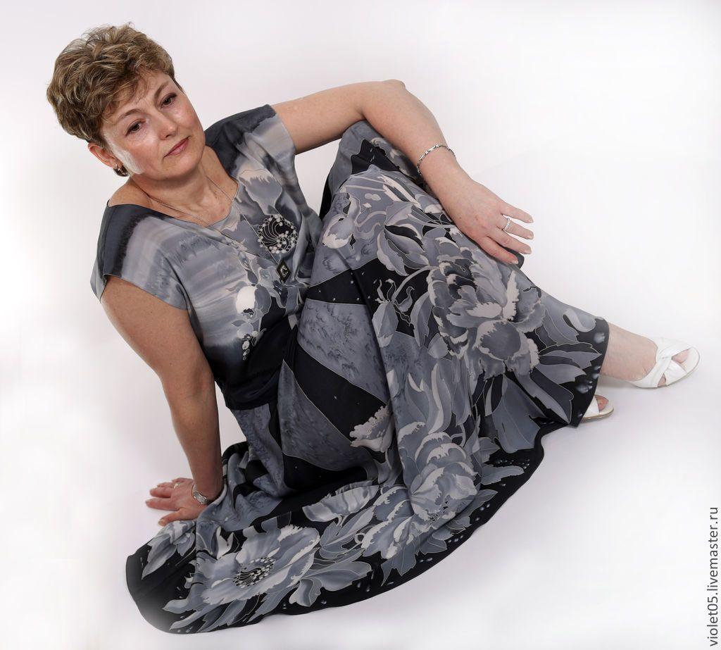Купить Шелковое платье Монохром- батик, шелк,ручная роспись - Батик, дизайнерская одежда, подарки
