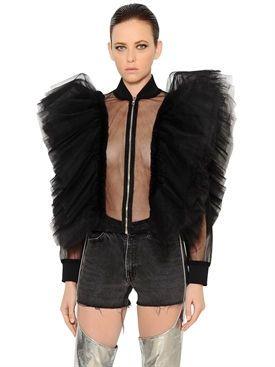 kaimin - women - jackets - ruffled sheer tulle jacket