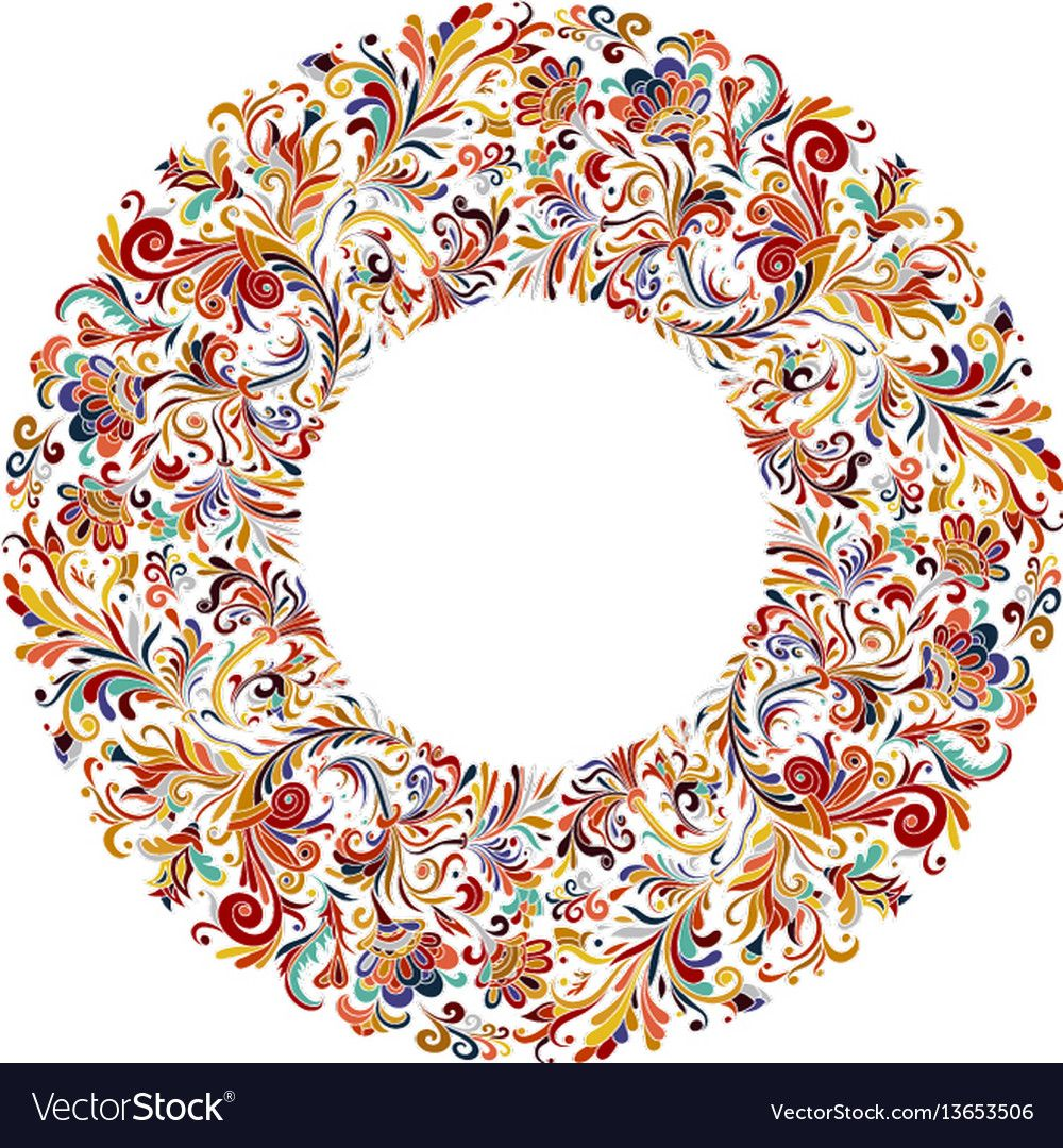 Photo of Vector circle frame, wreath design made of doodle flowers. Circle decoration. Wr …