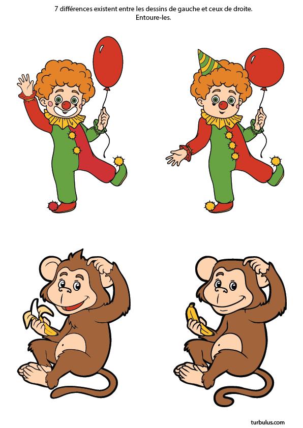 Jeux des différences ; le clown et le singe | Jeux des 7 erreurs, Jeux des 7 différences