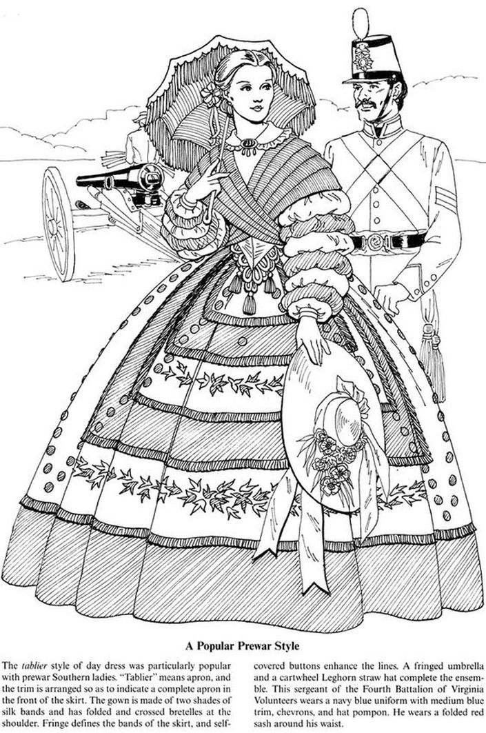 Victorian lady and soldier coloring pages for adults ...