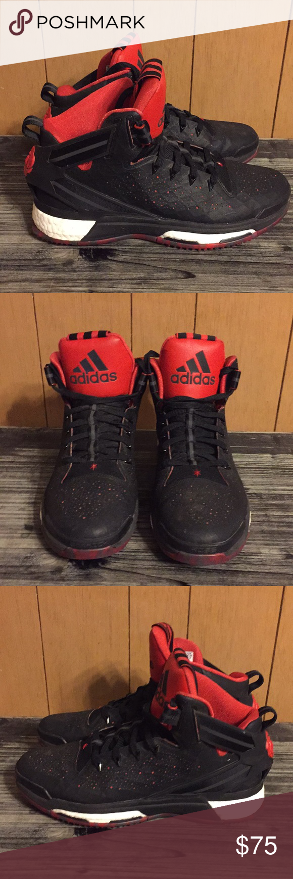 """half off fb6e1 29468 Adidas D Rose 6 in 10.5 size NBA Superstar Derrick Rose 6 signature shoe in  the black and red """"Bulls"""" color way. Size 10.5 with slight signs of wear in  ..."""