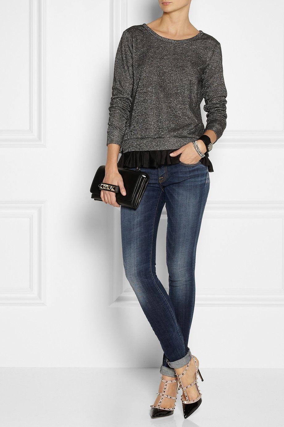 Clu silkpaneled metallic french terry sweatshirt net