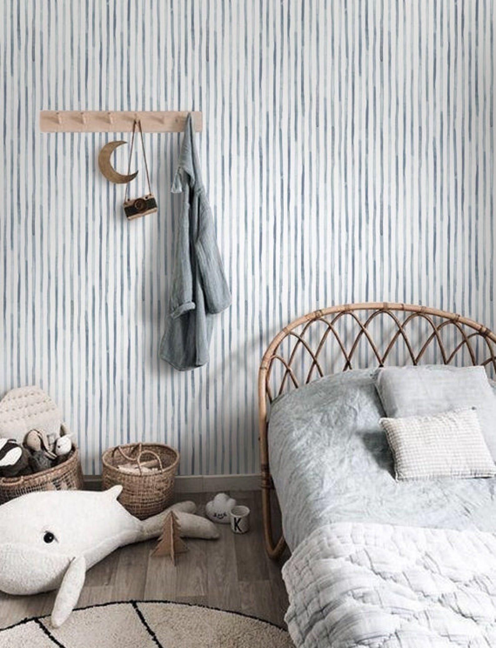 Vertical Stripe Watercolor Removable Wallpaper Peel Stick Etsy Removable Wallpaper Vertical Stripe Interior Walls