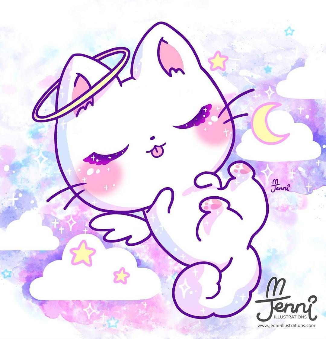 Sleeping Angel Kitty Angel Pastel Galaxy Kitty
