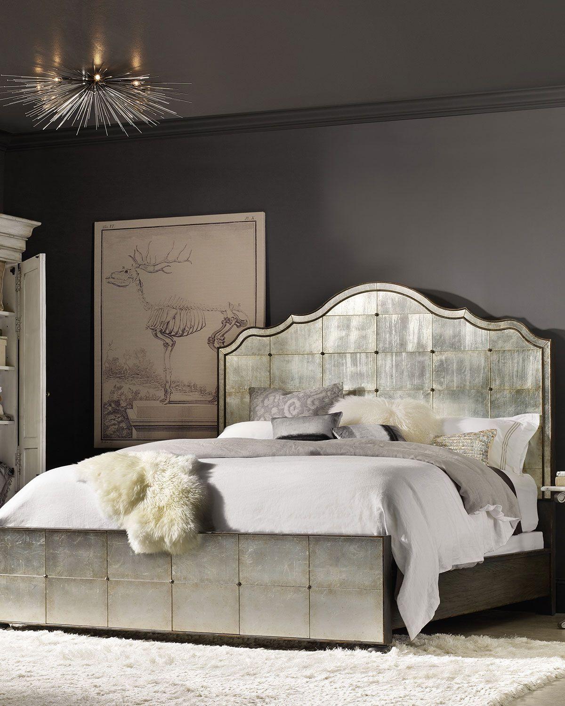 Furniture Visage Eglomise Mirrored Panel Bed California King Neiman Marcus