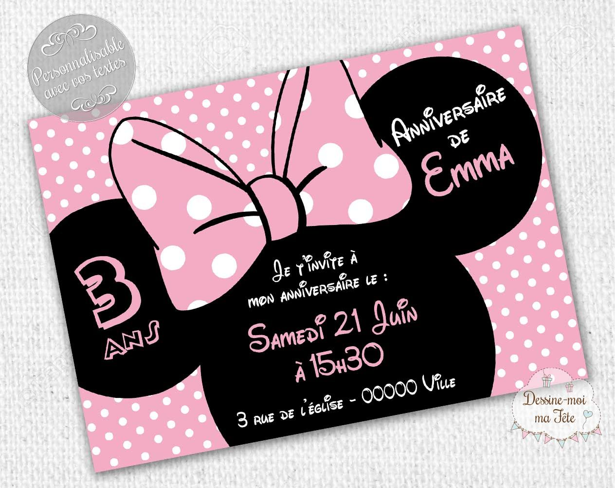 invitation anniversaire minnie