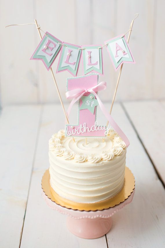 Girl First Birthday cake topper 1st birthday party decor Pink
