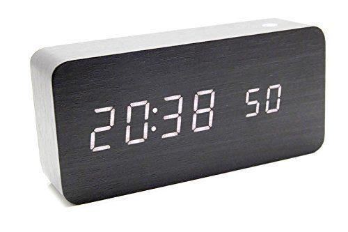 White Led Pvc Wood Grain Timber Digital Alarm Clock Thermometer Temperature Cf Display 1224 Hour Voice Control 4xaaa Batt Digital Alarm Clock Alarm Clock Clock