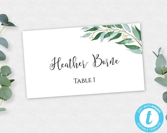 Greenery Wedding Place Card Template Escort Cards Printable Place