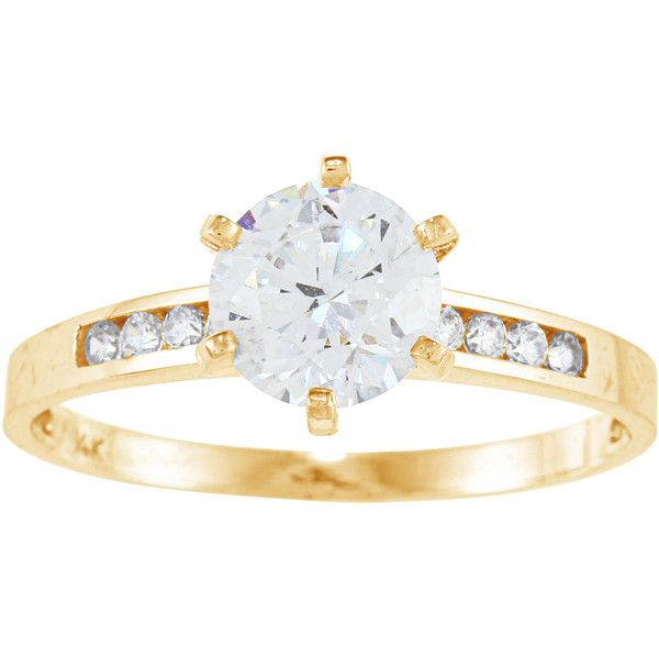 Alyssa Jewels 14k Gold Round Cubic Zirconia Engagement style Ring