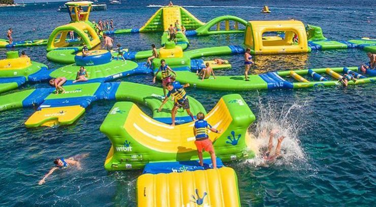WHITING, Ind  – Lake Michigan's floating water park has an