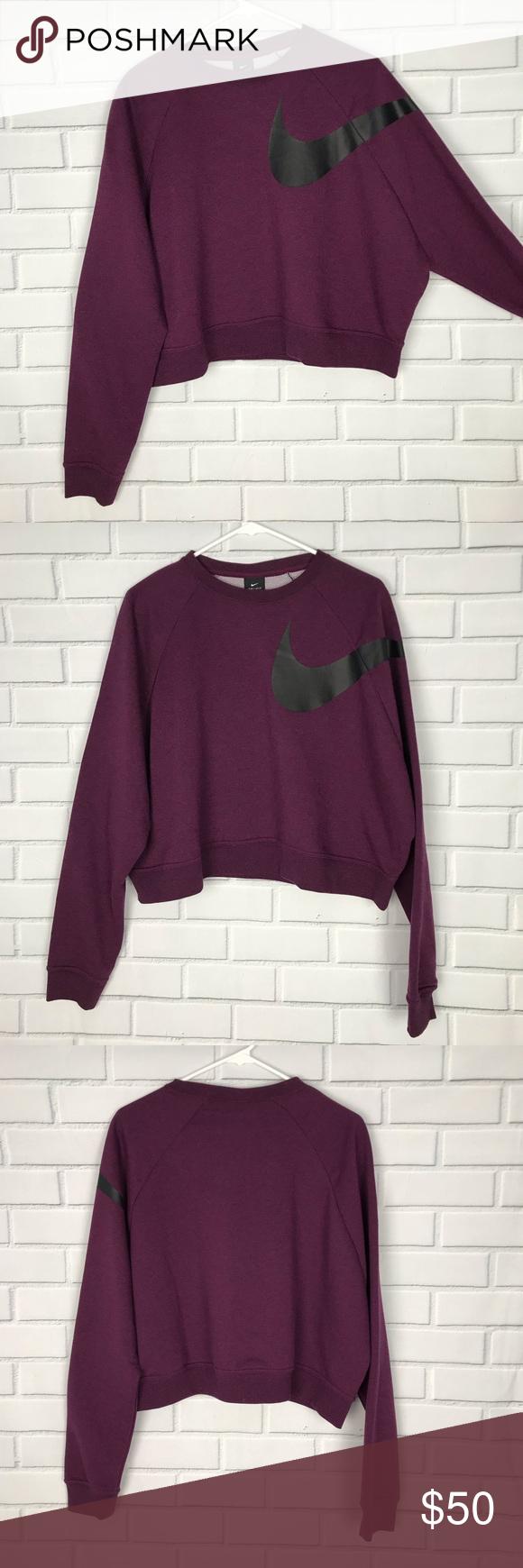 New Nike Dri Fit Cropped Crew Neck Sweatshirt Crew Neck Sweatshirt Clothes Design Hot Fashion [ 1740 x 580 Pixel ]