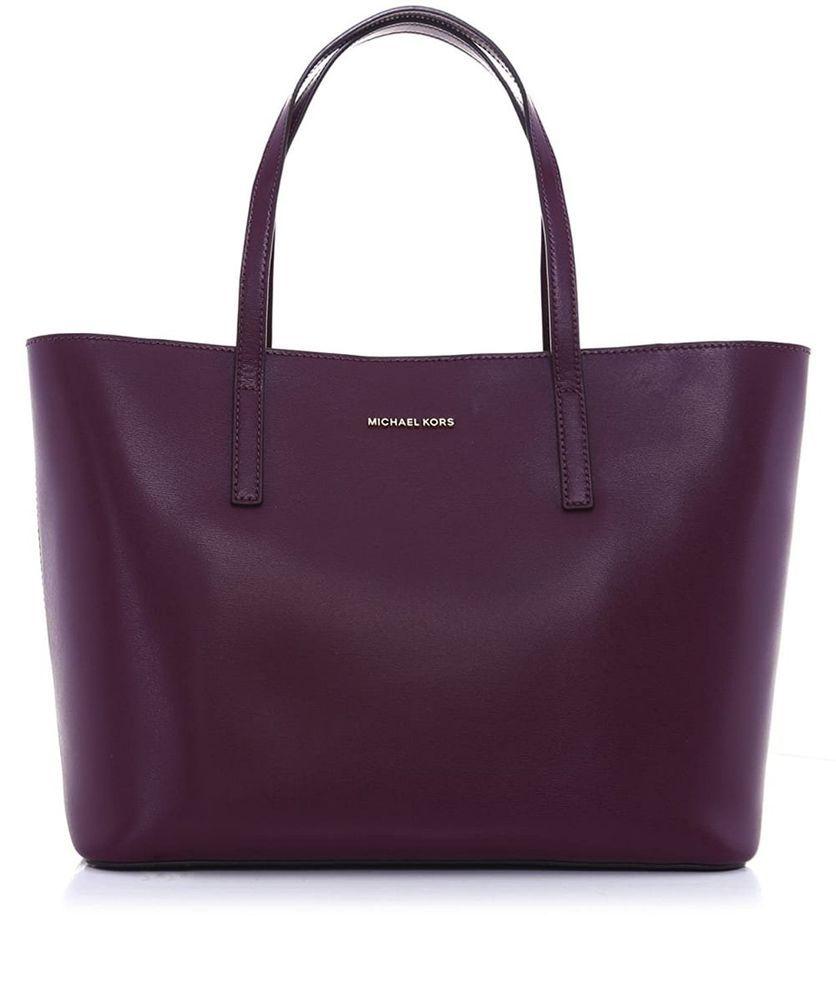 Michael Kors Emry Medium Leather Tote Shoulder Bag Plum Purple Violet Michaelkors Totesshoppers Shoulder Bag Medium Tote Michael Kors