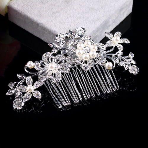 Diamond Bridal Wedding Flower Silver Plated Stunning Sparkling Hair Comb PIN SK | eBay