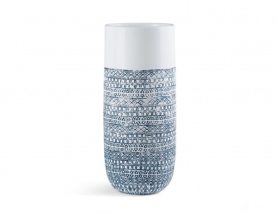 Useful and beautiful! This modern white vase, made from ceramic and handcrafted in Vietnam, will  bring a welcomed pop of colour. With a blue hand carved pattern, Odon looks fantastic as is or can hold  dried arrangements, from flowers to foliage.