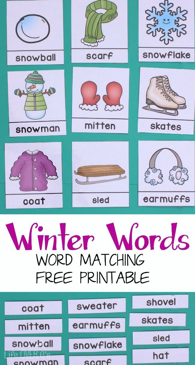Free 3-Part Cards for Winter Word Work | Reading & Writing Readiness ...