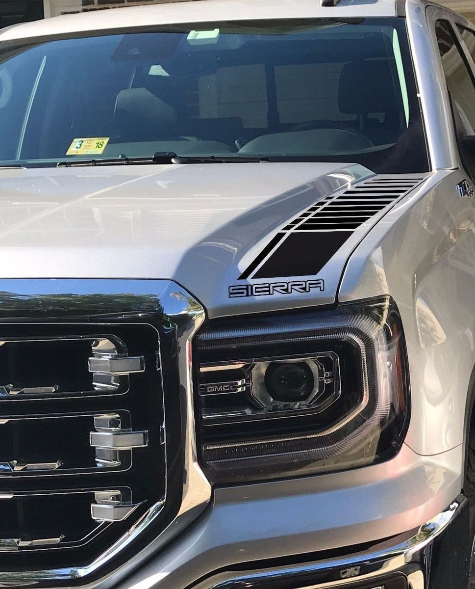 Product 2 truck vinyl decal racing sticker stripes gmc sierra hood factory style graphix