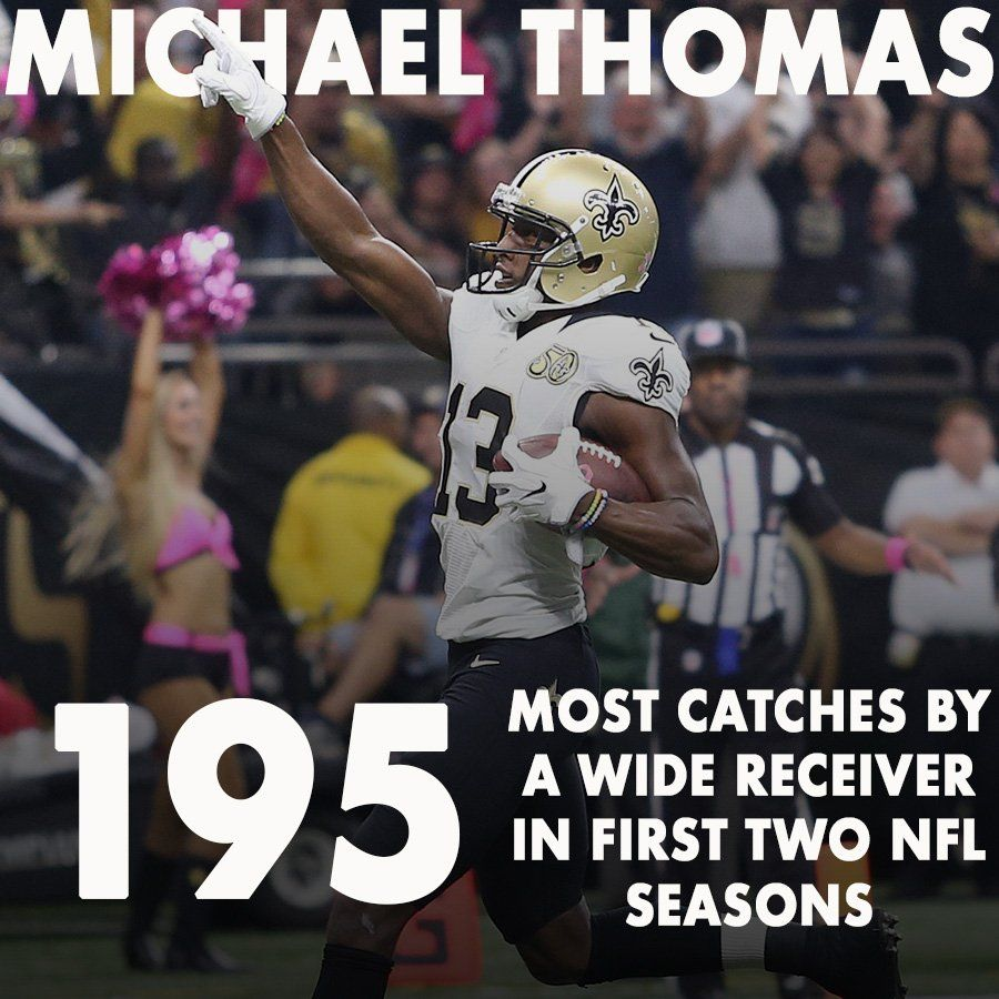 With That Last Catch Against Tampa Bay The Saints Michael Thomas Now Has More Receptions In His Firs Nfl Players Saints Football New Orleans Saints Football