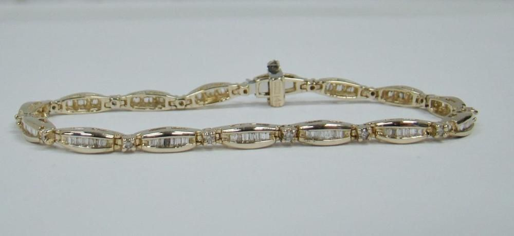 "14K YELLOW GOLD ROUND & BAGUETTE DIAMONDS 6 5"" TENNIS BRACELET 50"