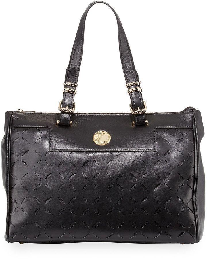 38f78d6c13 Versace Leather Laser-Cut Tote Bag