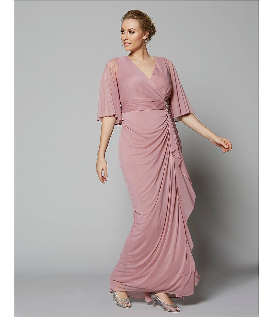 caa0a61a2843de Adrianna Papell Plus Size Surplice V-Neck Embellished Waist Draped Ruffle  Front Gown Adrianna Papell