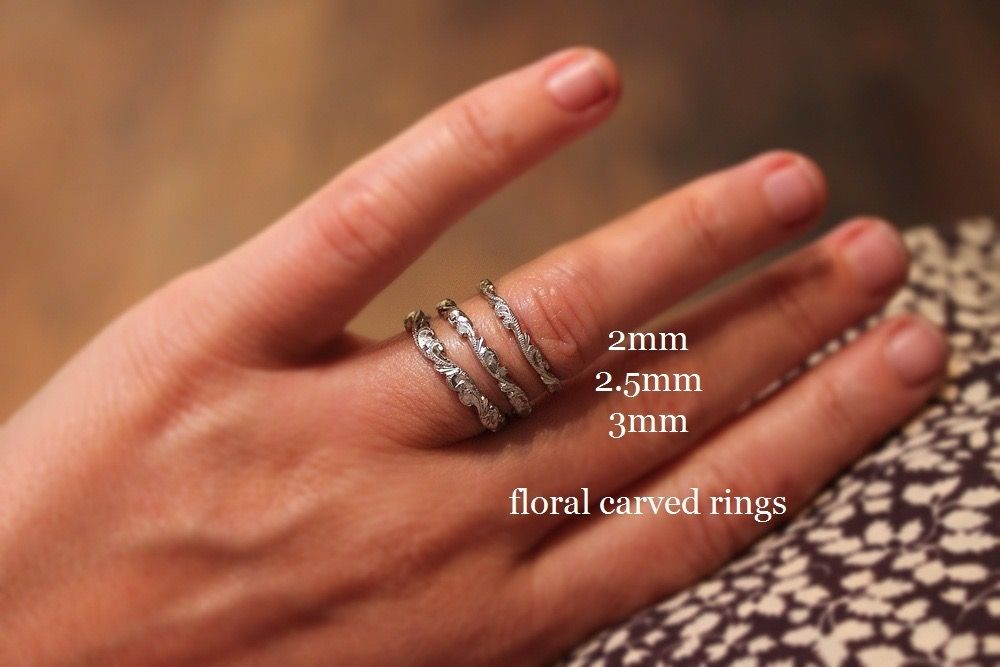 Palladium 2mm Floral Carved Prstynky Pinterest Wedding