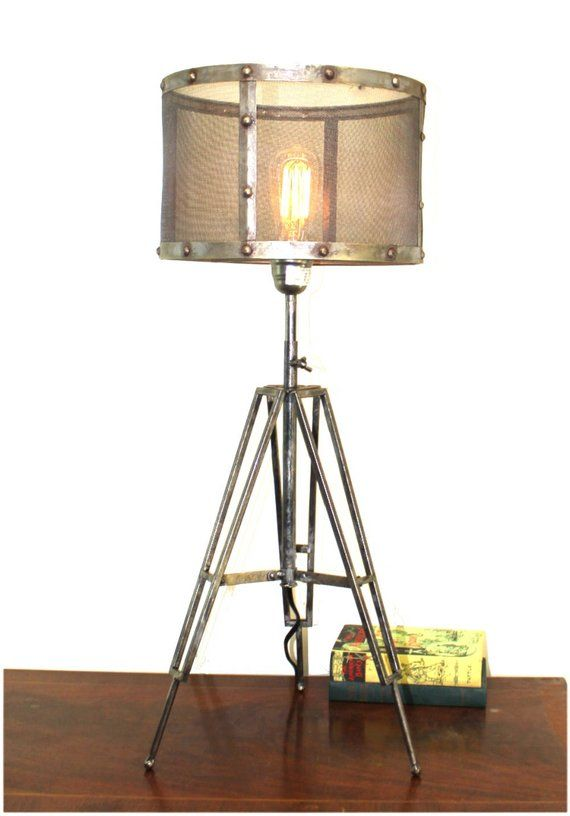 Tripod Table Lamp With Wire Mesh Aged Metal Shade Industrial Factory Lighting Factory Lighting Tripod Table Lamp Table Lamp
