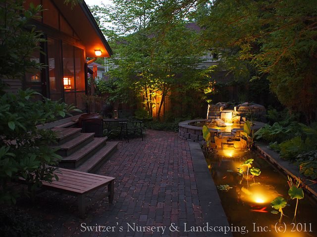 koi pond lighting ideas. Minnesota Landscape Design Inspired By Bali ~ Natural Stone Water Feature / Koi Pond Garden Night Lighting Ideas
