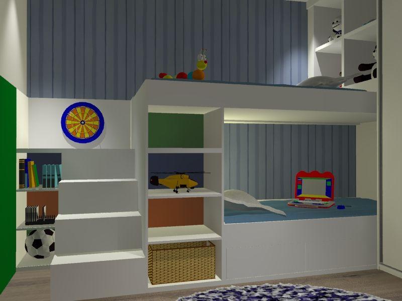 Dormitório infantil com duas camas, nichos para brinquedos e decoração