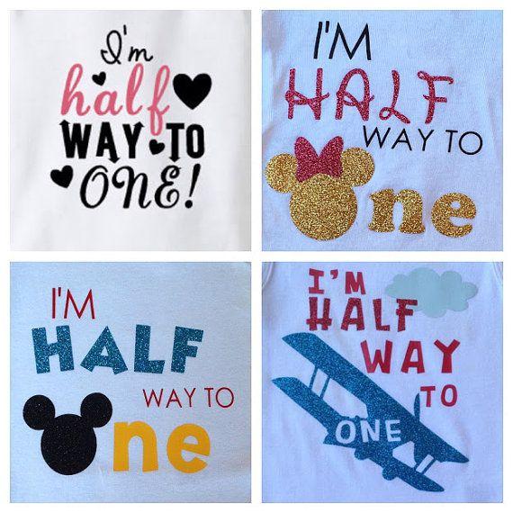 Mickey Mouse Half Birthday Shirt Baby Half Way to One Onesie