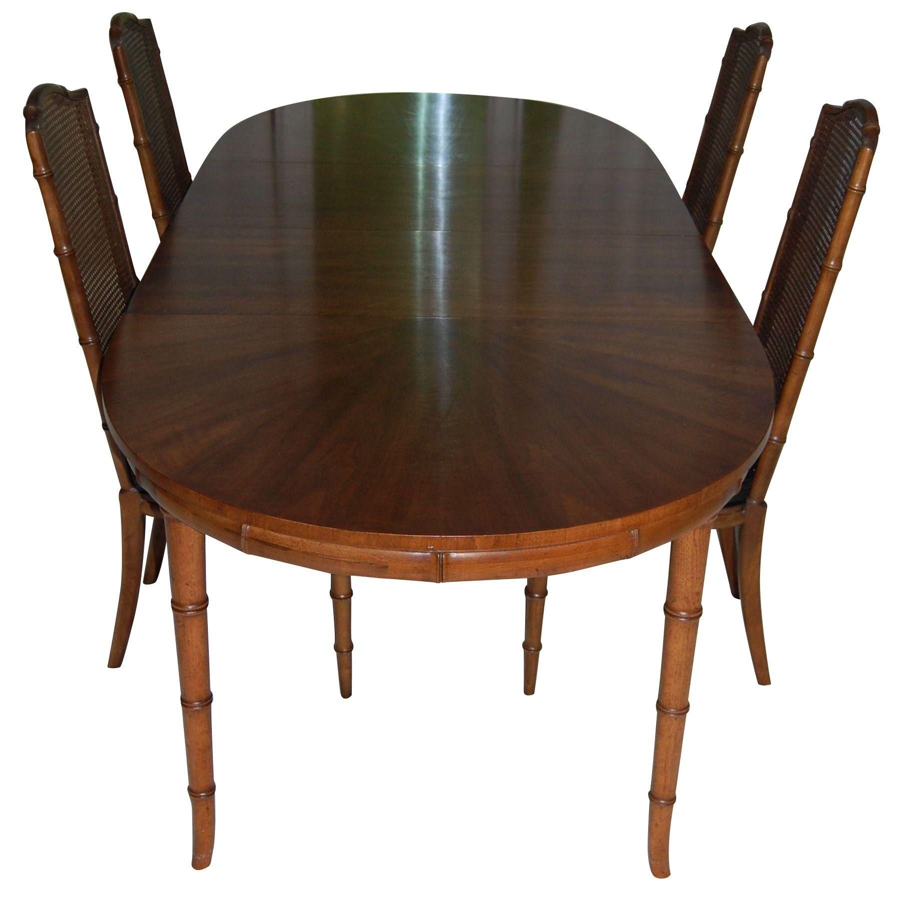 Henredon Faux Bamboo Dining Table & 4 Cane Chairs