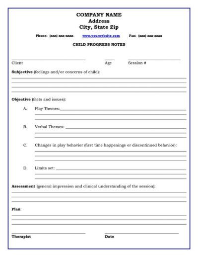 Therapy Progress Note Template  Social Work Stuff