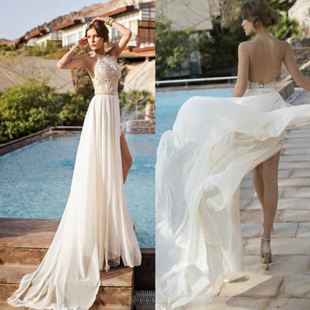 Outdoor summer wedding dresses  Find a Real Photos Sexy Ivory Chiffon Lace Boho Wedding Dress Halter