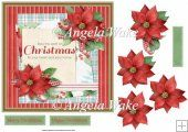 Red poinsettias 7x7 card with decoupage