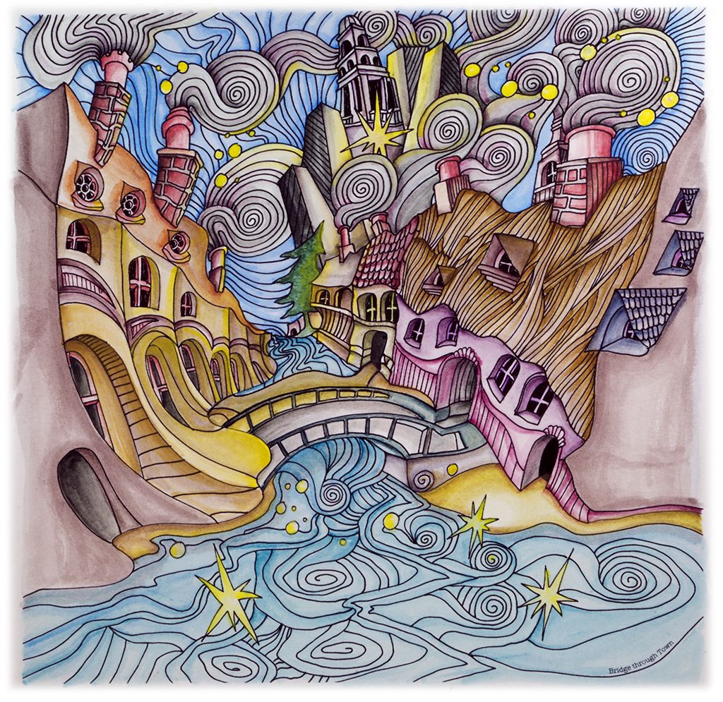 Bridge Through Town From Lizzie Mary Cullen Book Magical City Colored By