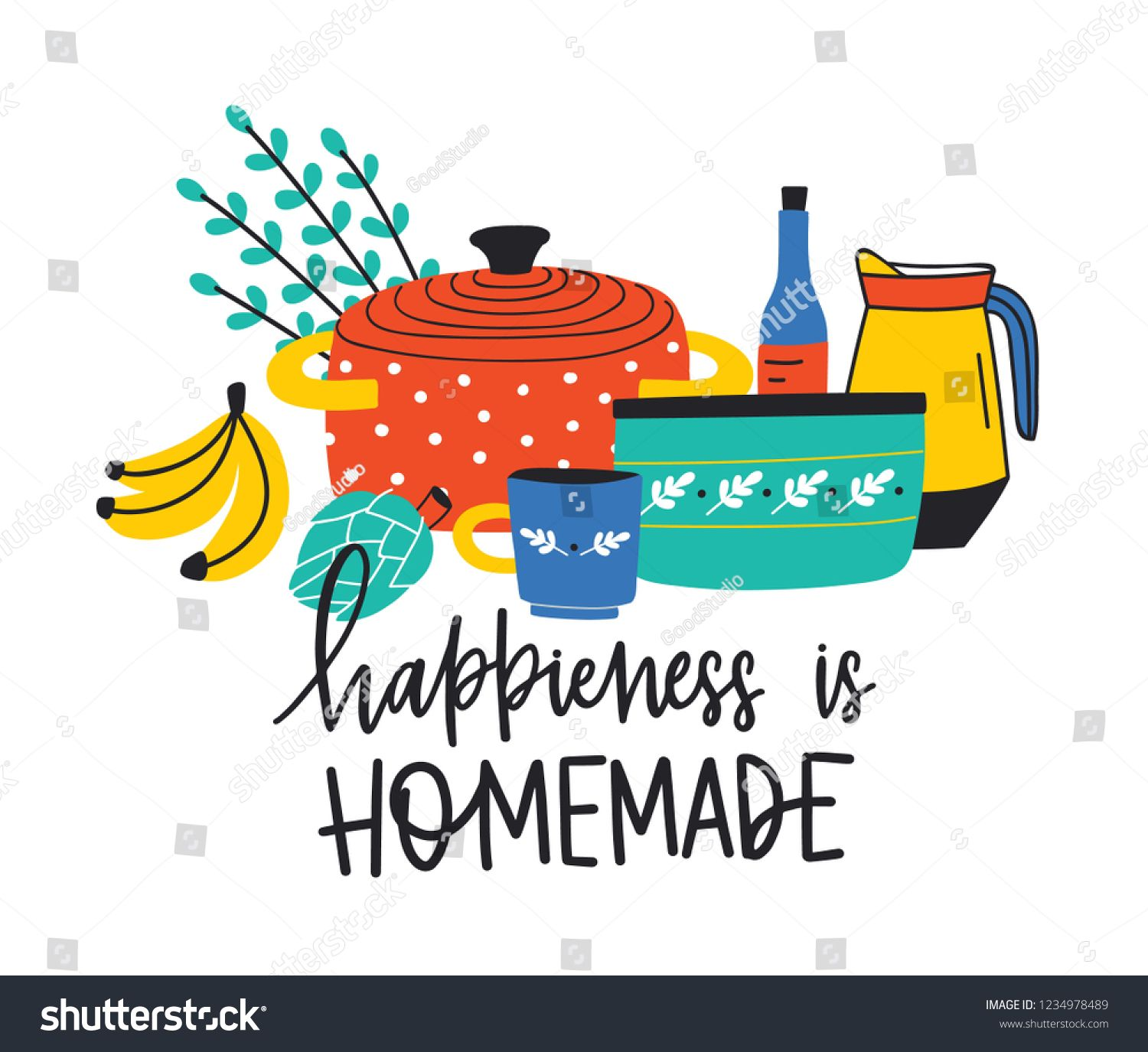 Banner Template With Kitchenware Or Kitchen Utensils For Cooking And Happiness Is Homemade Homemade Banners Birthday Banner Template Printable Banner Template