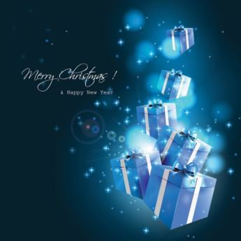 Free Vector Blue Gift Box Glowing Background New Year Greeting Card Free Vector Miscellaneous Graphic Image Cgvector Free Vector Download Merry Christmas And Happy New Year Happy New Year