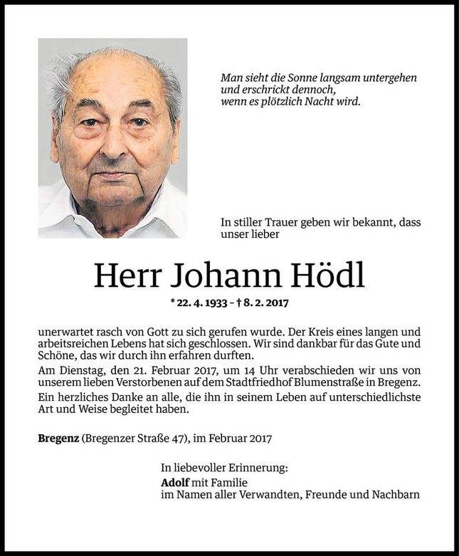 Todesanzeige Für Johann Hödl Vom 17.02.2017   VN Todesanzeigen
