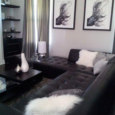 black sofa room ideas small l couch grey walls living google search decoracion en