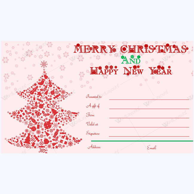 Merry Christmas And Happy New Year Card Template Word Layouts Christmas Gift Certificate Template Gift Certificate Template Christmas Gift Certificate