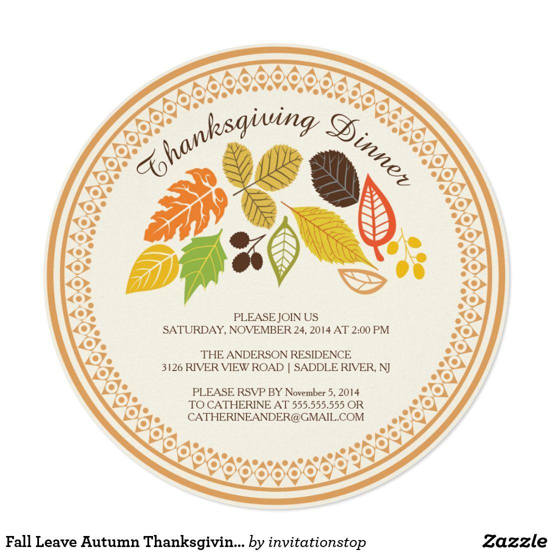Fall Leave Autumn Thanksgiving Dinner Invitations Zazzle Com In 2020 Thanksgiving Dinner Invitation Fall Bridal Shower Invites Dinner Invitations