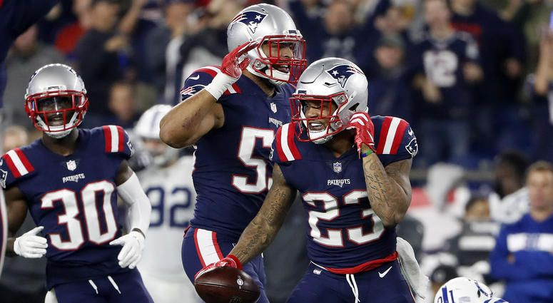 New England Patriots Safeties Patrick Chung Duron Harmon Detail Interception Celebration Weei Patrick Chung New England Patriots Karate Kick