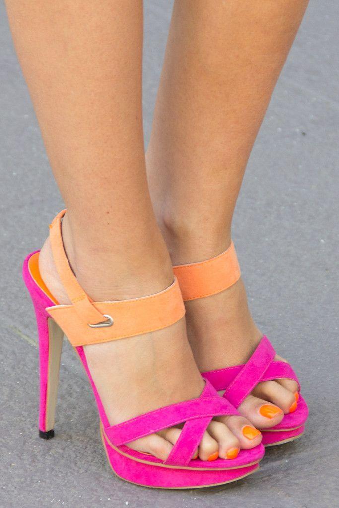 two tone heels - fuchsia   orange. cute 77b0aab060