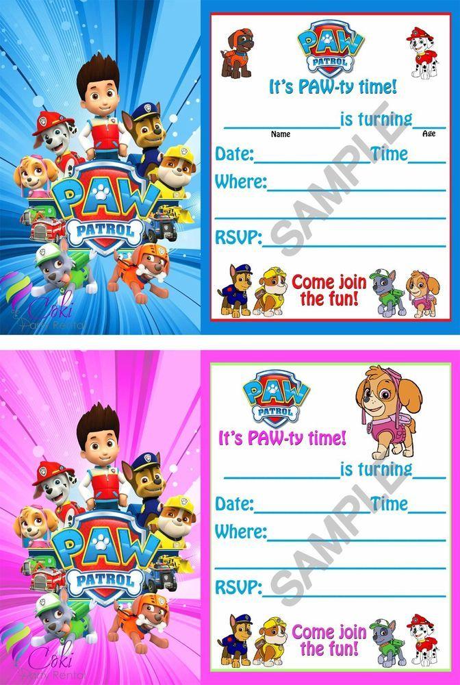 Paw Patrol Birthday Party Invitations (12) Boy & Girl with envelopes ...