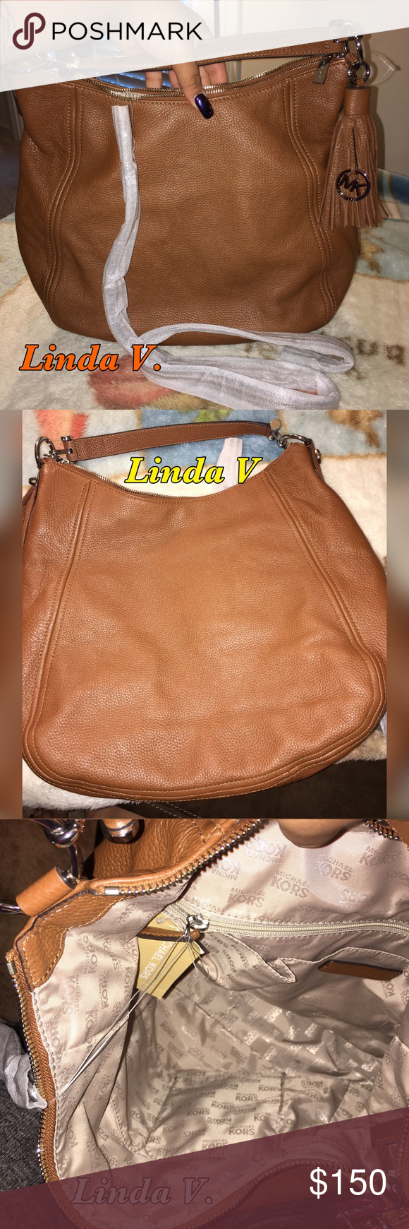 """Michael Kors Frances XLarge Leather Shoulder bag 📦NWT NEVER BEEN USED🎉 in great condition Great Shoulder bag NWT Michael Kors Women's Frances XLarge Leather Shoulder Handbags 👜 Luggage Color Slouchy Hobo / Shoulder bag in Pebbled Leather / Silver Hardware Exterior slip pocket / 4 internal pockets and zip compartment Removable / Adjustable Shoulder Strap Single Handle 8 """"drop Logo Liner Modern Hardware 100% AUTHENTIC. Style No. 35T6SFEL3L.Color: Luggage  Measurements: H 12.5"""" x L 14"""" x D…"""