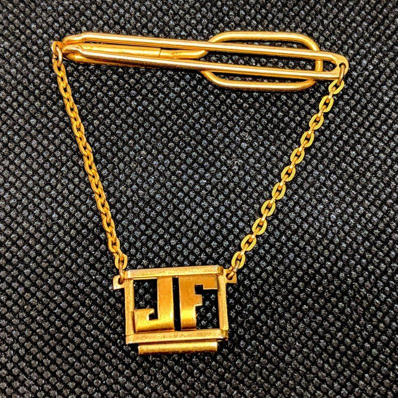 Vintage SWANK Monogram Shiny JH Gold Plated Tie Slide Tie Bar 2 12 Long