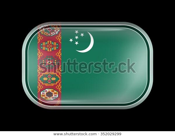 Flag Turkmenistan Rectangular Shape Rounded Corners Stock Vector Royalty Free 352029299 Flag Rectangular Stock Vector