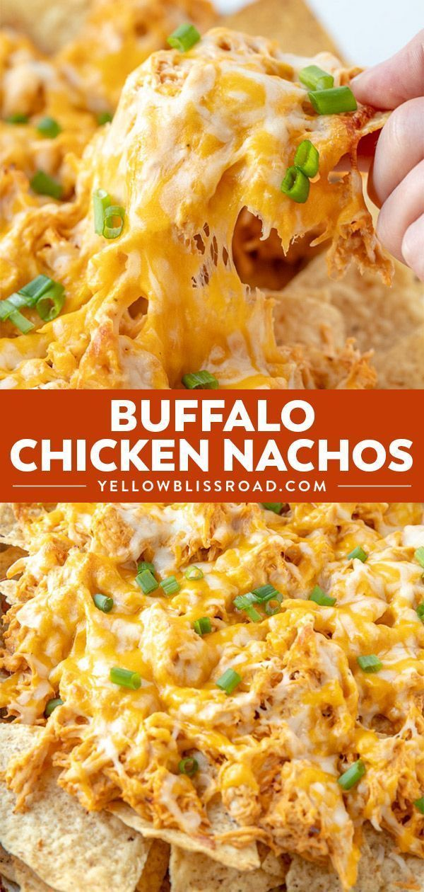 Buffalo Chicken Nachos - Cheese Chips - Ideas of Cheese Chips #CheeseChips - Buffalo Chicken Nachos Crunchy tortilla chips loaded with chicken drenched in a spicy buffalo ranch sauce and smothered in cheese! Your hungry game day crowd will love this easy appetizer! #appetizers #dinner #gameday via @Kristin #buffalochickennachos